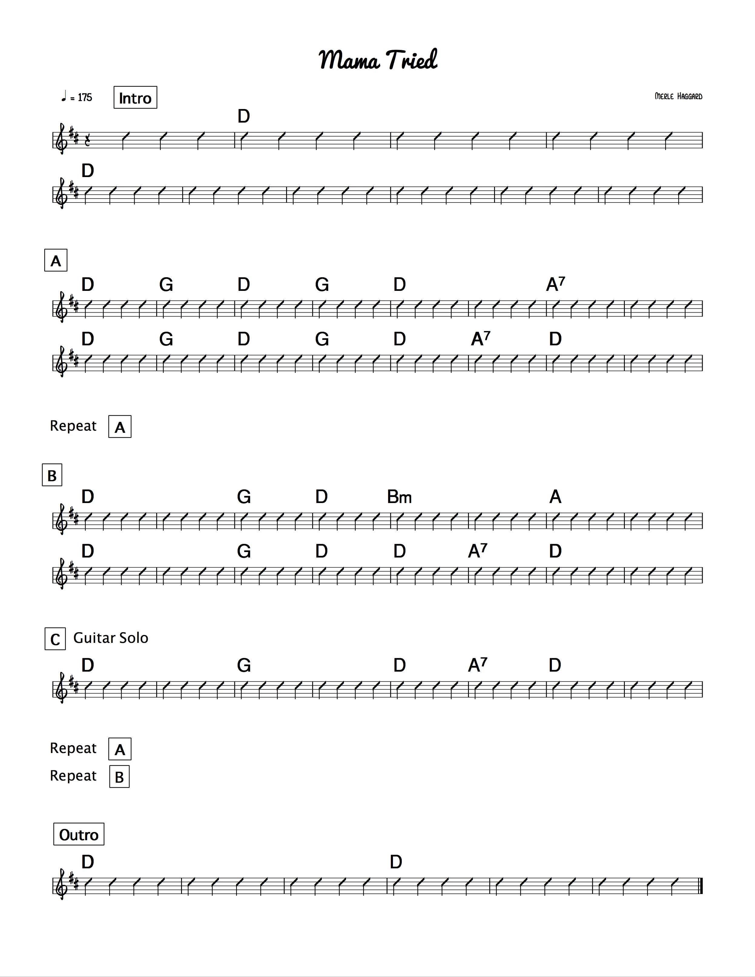 Chord Charts Steel Guitar Academy A7 Chart Mama Hated Diesels